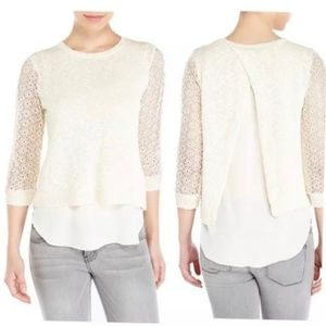 Lucky Brand Ivory Lace Chiffon Split Back Sweater